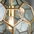 Neptune Chain Pendant Ceiling Light - Antique Brass & Clear Hexagonal Glass