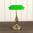 Kingswood Barley Twist Traditional Bankers Lamp - Antique Brass - Green Glass