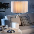 Stylish Chrome Swing Arm Table Lamp Complete With Cream Box Pleat Shade
