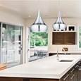 Modern Designer Teardrop Ceiling Pendant Light - Chrome - Medium