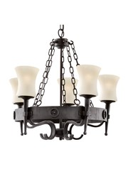 Searchlight Cartwheel Scavo 5 Light - Matt Black/Brown - Wrought Iron Effect