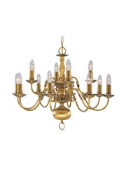 Searchlight Flemish 12 Light Chandelier - Antique Solid Brass