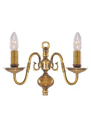 Searchlight Flemish Wall Light - Antique Solid Brass