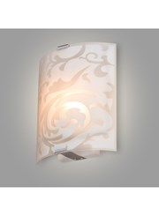 Roxbury Patterned Curved Glass Decorative Flush Wall Light