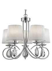 Searchlight Angelique 5 Light Pendant - Chrome - Glass Drops - Ruffled Shades