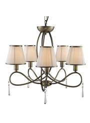Searchlight Simplicity Ceiling 5 Light - Antique Brass - White Shades