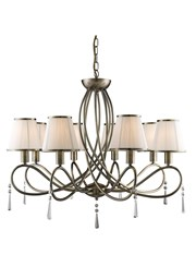 Searchlight Simplicity Ceiling 8 Light - Antique Brass - White Shades
