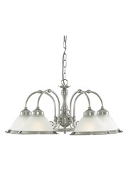 Searchlight American Diner 5 Light Peandant - Satin Silver - Opaque Glass