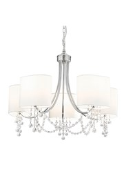Searchlight Nina  Ceiling 5 Light - Chrome - Clear Beads - White Shade