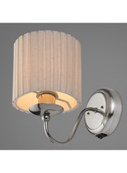 Riddlesden Satin Silver Single Wall Light Complete With Natural Linen Shade