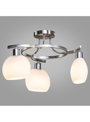 Rotario Ceiling 3 Light Satin Silver/Chrome With Catarina Glass - Modern