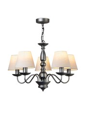 Craven Ceiling 5 Light Chandelier Pendant - Pewter Painted Finish - Linen Shades