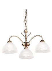 Searchlight Milanese Ceiling 3 Light - Antique Brass - Alabaster Glass