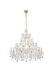 Searchlight Marie Therese Tiered 30 Light Chandelier - Crystal - Brass