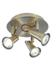 Searchlight Eros 3 Spotlight Fitting - Circular - Antique Brass
