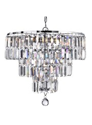 Searchlight Empire  5 Light Tiered Chandelier - Chrome - Clear Crystal Drops