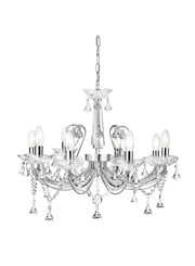 Searchlight Lafayette 8 Light Chandelier - Chrome & Clear Crystal & Glass Detail