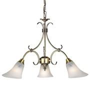 Endon Hardwick Pendant Light - Antique Brass & Frosted Glass - 3 Light