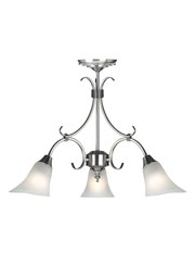 Endon Hardwick Pendant Light  - Antique Silver & Frosted Glass - 3 Light