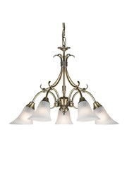 Endon Hardwick Pendant Light - Antique Brass & Frosted Glass - 5 Light