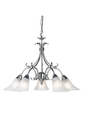 Endon Hardwick Pendant - Antique Silver & Frosted Glass - 5 Light
