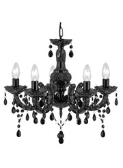 Searchlight Marie Therese  5 Light Chandelier - Black Glass