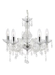 Searchlight Marie Therese  5 Light Chandelier - Chrome - Clear Glass