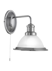 Searchlight Bistro Industrial Wall Light - Satin Silver - Pull Cord