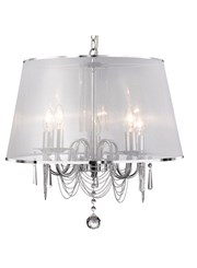 Searchlight Venetian Ceiling 5 Light - Chrome - White Shade Chain Links & Glass