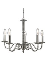 Searchlight Richmond Traditional Ceiling 5 Light - Scroll Arms - Satin Silver