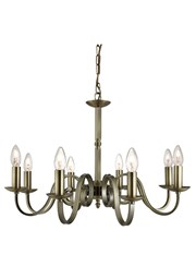 Searchlight Richmond Traditional Ceiling 8 Light - Scroll Arms - Antique Brass