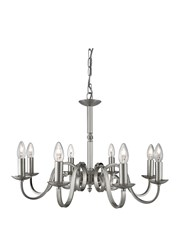 Searchlight Richmond Traditional Ceiling 8 Light - Scroll Arms - Satin Silver