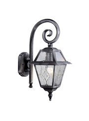 Searchlight Genoa Outdoor Wall Light - Black/Silver/Lead Glass