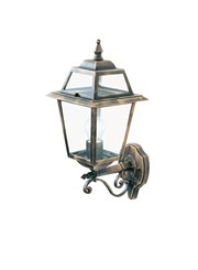 Searchlight New Orleans Outdoor Wall Uplighter - Black & Gold - Clear Glass
