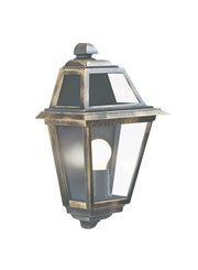 Searchlight New Orleans Outdoor Wall Light - Black & Gold - Clear Glass