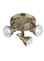 Searchlight Focus Industrial Ceiling 3 Spotlight - Antique Brass - Round