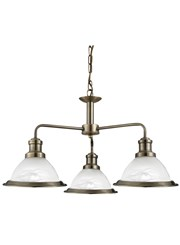 Searchlight Bistro 3 Light Industrial Ceiling Pendant - Antique Brass