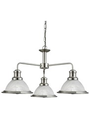 Searchlight Bistro 3 Light Industrial Ceiling Pendant - Satin Silver