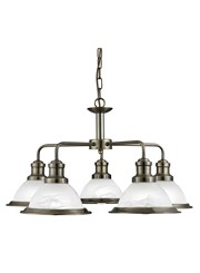 Searchlight Bistro 5 Light Industrial Ceiling Pendant - Antique Brass
