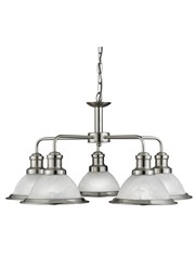 Searchlight Bistro 5 Light Industrial Ceiling Pendant - Satin Silver