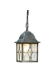 Searchlight Genoa Outdoor Pendant Light - Traditional - Black/Silver/Lead Glass