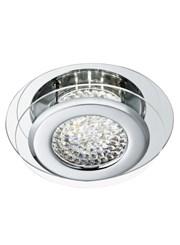 Searchlight Vesta Flush Ceiling Light - Led - Chrome - Crystal Centre Decoration