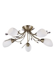 Searchlight Gardenia Ceiling 5 Light - Antique Brass - Crystal - Opal Glass