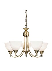 Endon Alton Pendant Light Fitting - Antique Brass & Frosted Glass - 5 Light