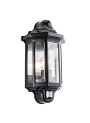 Endon Traditional PIR Half Lantern 60W Outdoor Wall Light - Black - IP44