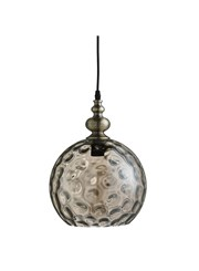 Searchlight Indiana Globe Pendant - Antique Brass - Amber Dimpled Glass Shade