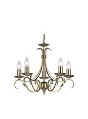 Endon Bernice Traditional Pendant Light Fitting - Antique Brass - 5 Light