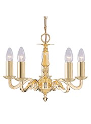Searchlight Seville Solid Polished Brass Ceiling 5 Light - Candles - No Glass