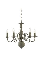 Searchlight Greythorne Vintage Ceiling 5 Light - Textured Grey Finish