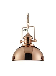 Searchlight Industrial Chain Pendant Light - Clear Lens - Copper
